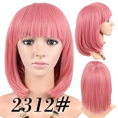 Cheap Short Bob Wig Pink Color #2312 With Bangs for Women Full Head Colorful Cosplay Daily Party Anime Best Synthetic Wigs Straight Real Fiber Wig (Not Human Hair) 12 Inch Free Wigs Cap