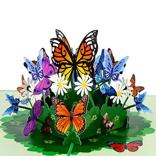 LIMAH Pop Up Grußkarte/Geburtstagskarte, Valentinstag-Karte, Muttertag-Karte, Dankeskarte, Geschenkkarte, Karte zur Genesung, Freundschaftskarte/Schmetterling Blumen Motiv/Grün/Gross