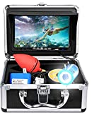 Portable Underwater Fishing Camera with Depth Temperature Display-Waterproof HD Camera and 7'' LCD Monitor-Infrared Fish Finder-Up to 8 Hours Battery Life-Ultimate Fishing Gear (15M Cable)