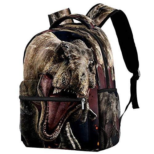Mochila escolar de dinosaurio, mochila para libros, informal, para viajes, motivo 1 (Multicolor) - bbackpacks004