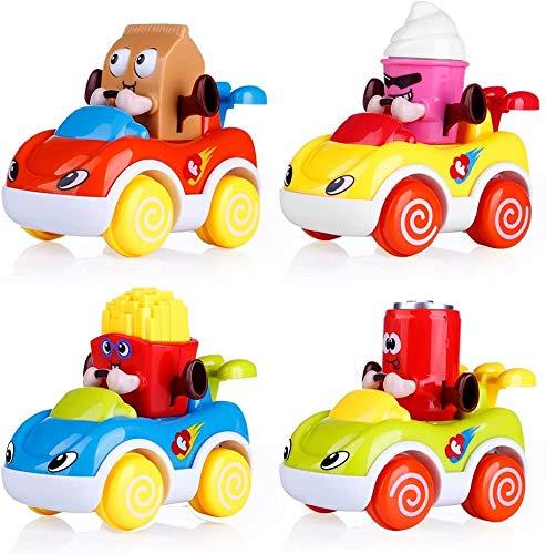 Comius Sharp Coches de Juguete para Niños, 4 Pcs Juguetes para Bebés de Coches de Fricción con Motor de Empuje y Anda de Dibujos Animados de Juguetes Los Mejores Juguetes para Niños de 1 año