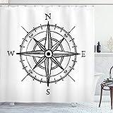 ABAKUHAUS Kompass Duschvorhang, Windrose Wegbeschreibung, mit 12 Ringe Set Wasserdicht Stielvoll Modern Farbfest & Schimmel Resistent, 175x200 cm, Weiß Schwarz