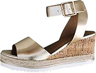 Letdown Sandals for Women Under 10 Dollars Retro Womens Fashion Open Toe Ankle Platform Wedges Shoes Ladies Roman Sandals