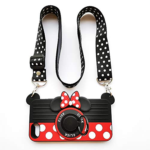 for iPhone SE 2020 Case iPhone 8 Case iPhone 7 Case with Lanyard Ring 3D Cute Soft Silicone Cartoon Minnie Mouse Camera Design Phone Case Best Gift for Women/Girls/Kids (4.7in)