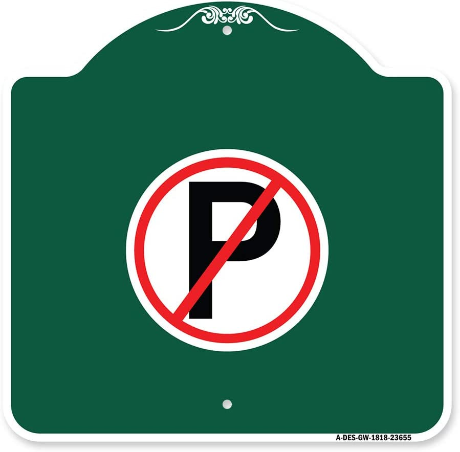 New life SignMission Designer Series Sign - W Parking No Symbol Green Special Campaign