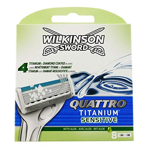 Wilkinson Sword Quattro Titanium Sensitive Refill Razor Blade Cartridges - Cartridges - 8 Count