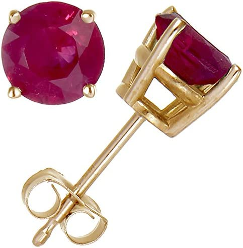 Details about  /1.0 ct Heart Cut Red Simulated Ruby Stud Earrings 14k Yellow Gold Push Back