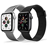 Magnetic Watch Band Compatible for Apple Watch Bands 38mm 40mm 42mm 44mm,2 Pack Replacement Milanese Bands for iwatch Iseries 6 series 3 series SE , Loop Stainless Steel Mesh Metal Balck Sliver Rose Gold Blue Pink
