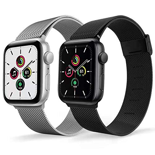 Magnetic Watch Band Compatible for Apple Watch Bands 38mm 40mm 42mm 44mm,2 Pack Replacement Milanese Bands for iwatch Iseries 6 series 3 series SE Women Men, Loop Stainless Steel Mesh Metal Balck Sliver Rose Gold (Silver+Black, 38MMM/40MM)