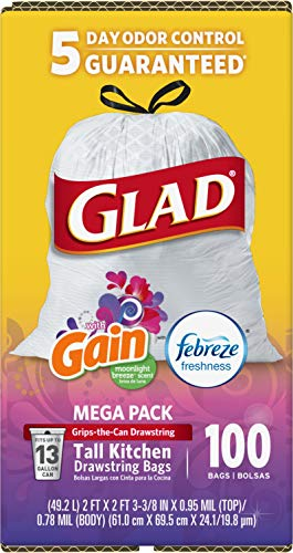 Glad ForceFlex Tall Kitchen Drawstring Trash Bags 13 Gallon Grey Trash Bag, Unscented 80 Count (Package May Vary) 4