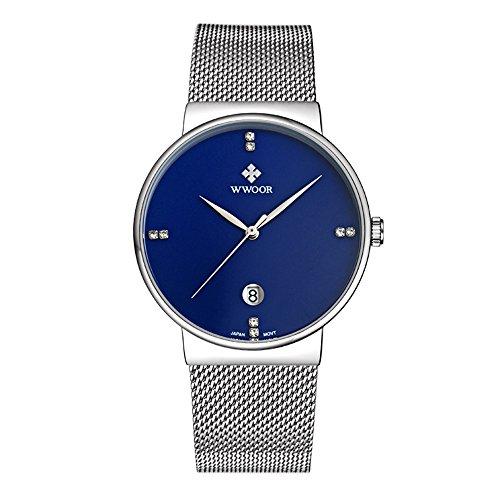 Wwoor maglietta a rete sottile fascia in acciaio INOX maschio Elite sport orologio da polso con data (blu)
