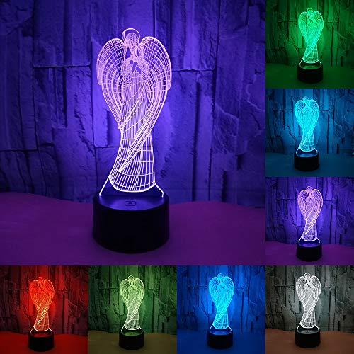 RUMOCOVO® Ángel Colorido LED Luz De Noche 3D Ilusión USB Ambiente Lámpara De Mesa Para Niños Bebé Decoración Lámpara De Habitación Hogar Iluminación