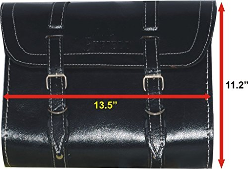 Customized Royal Enfield Black Color Saddle Bag With Fitting Strips