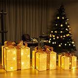 GIGALUMI Set di 3 scatole regalo illuminate con LED pre-illuminati con luci a LED bianche calde Pacchi natalizi con orpelli e fiocco per decorazioni feste