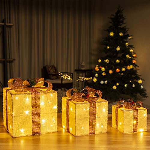 GIGALUMI Juego de 3 cajas de regalo iluminadas Cajas LED preiluminadas con luces LED blancas cálidas Paquetes navideños con oropel y lazo para decoración navideña