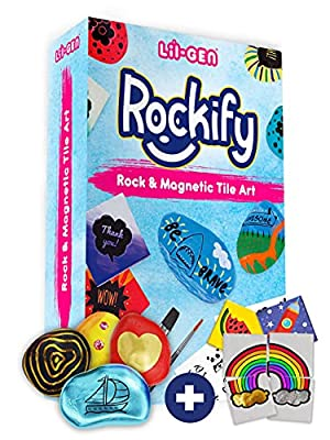 Li'l Gen Rock Painting Kit for Kids and Mini Ceramic Tile Painting Kit - Arts and Crafts for Kids Ages 6-12 - DIY Craft Kits for Boys and Girls - Crafts Activities & Art Supplies - Kids Gift Art Set from Li'l-Gen