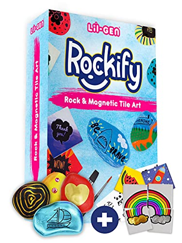 Li'l Gen Rock Painting Kit for Kids and Mini Ceramic Tile Painting Kit - Arts and Crafts for Kids Ages 6-12 - DIY Craft Kits for Boys and Girls - Crafts Activities & Art Supplies - Kids Gift Art Set