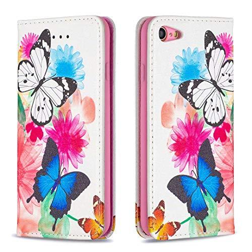 Miagon Brieftasche Hülle für iPhone 7/8,Kreativ Gemalt Handytasche Case PU Leder Geldbörse mit Kartenfach Wallet Cover Klapphülle,Schmetterling Blume