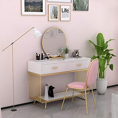 ChengBeautiful Tocador Acabado Blanco Maquillaje Tabla Escritorio con Metal de la Pierna for el Dormitorio, Cuarto de baño for su Esposa Hija (Color : White, Size : 120x45x75CM)