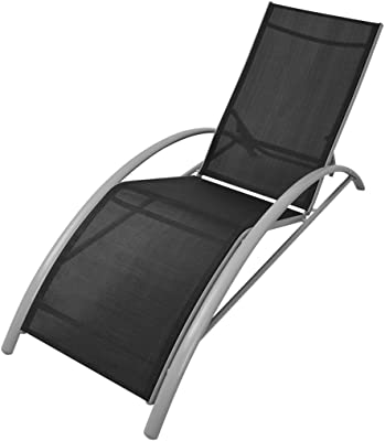 Daonanba Modern Style Bench Chair Comfortable Sun Lounger Outdoor Chaise Chair Aluminum Black Umbrella