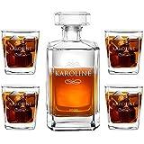 Murrano Whiskey Karaffe + 4er Whiskygläser Set mit Gravur - 700ml Whisky Dekanter - Geschenk zum Geburtstag für Damen - Name