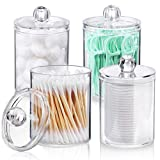 AOZITA 4 Pack Qtip Holder Dispenser for Cotton Ball, Cotton Swab, Cotton Round Pads, Floss - 10 oz Clear Plastic Apothecary Jar Set for Bathroom Canister Storage Organization, Vanity Makeup Organizer