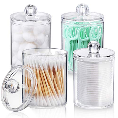 AOZITA 4 Pack Qtip Holder Dispenser for Cotton Ball, Cotton Swab, Cotton Round Pads, Floss - 10 oz Clear Plastic Apothecary Jar for Bathroom Canister Storage Organization, Vanity Makeup Organizer