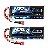 ゼエエ(Zeee)7.4V 5200mAh【令和最新版】リポバッテリー 大容量リチウムポリマーバッテリー 50C 2S ハードシェル接続Tプラグ付き 1/8と1/10 RCカー用 ラジコン玩具バッテリー RCカー用 無人機用など(2パック)