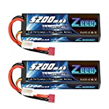 Zeee 2S Lipo Battery 7.4V 50C 5200mAh RC Lipo Batteries Hard Case with Deans...