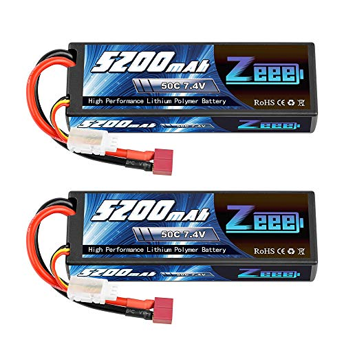 Zeee 7.4V Lipo Battery 2S 50C 5200mAh Lipos Hard Case with Dean-Style T Connector for RC Car, Trucks, 1/8 1/10 RC Vehicles(2 Packs)