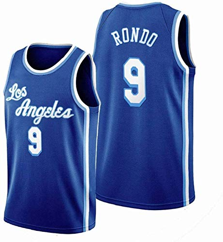 XHDH Jersey De Baloncesto NBA Lakers # 9 Rondo Transpirable Resistente A La Malla Bordada Camiseta De Baloncesto Deportes Camisetas Jerseys,Azul,XL 180~185cm