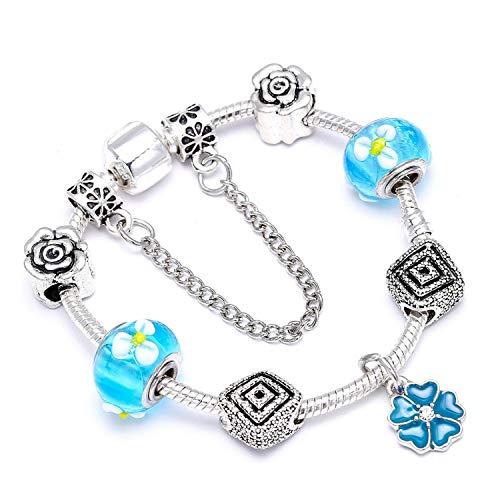 Pulsera Brazalete, Joyeria Regalo, Vintage Silver Plated Crystal Fine Bracelet For Wome Fit Snake Chain Charm Bracelet DIY Jewelry Gift C016 17cm