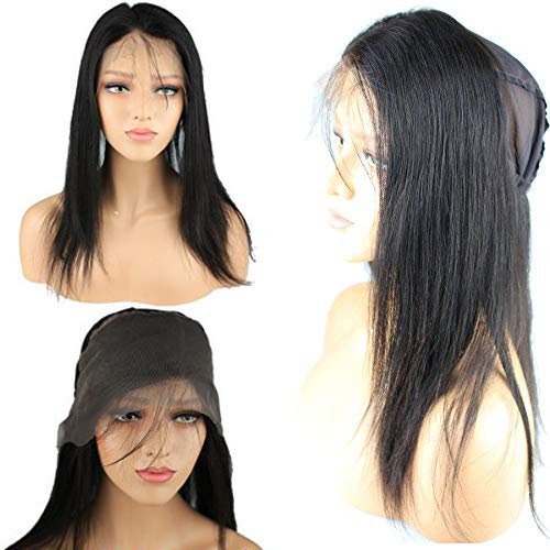 Rossy&Nancy New Human Hair Product 360 Circular Closure Fit High ponytail Easy Part Anywhere 130% Density Lace Frontal with Wig Cap Natural Black Color Silk Straight Hair for Black Women 12inch