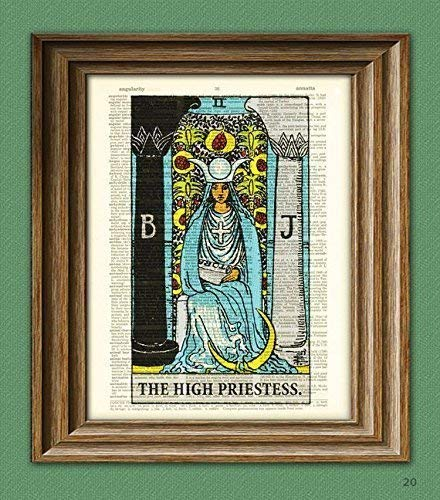 The High Priestess Major Arcana Tarot Card Deck Print Over an Upcycled Vintage Dictionary Page Book Art