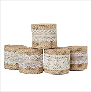 NX Garden 6 Rolls Natural Jute Burlap Craft Ribbon Roll with White Vintage Lace for DIY Crafts Wedding Decorations 2Meters Each Roll