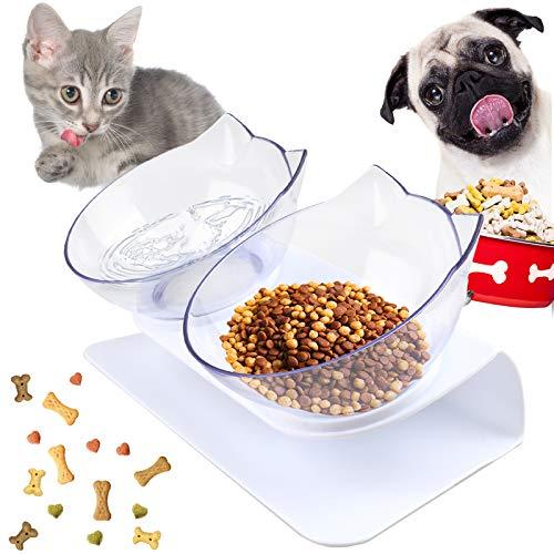 Katzen Fressnäpfe, Futternapf Katze Gekippte, Doppelschale mit Rutschfestem Boden, Doppelschüssel Hundenapf Katzennapf, 15°Katzenfutter Bowl mit Erhöhtem Stände