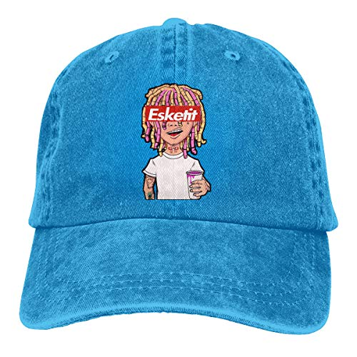 David A Beltran Lil Pump Esketit Peep Printed Denim Hat Ajustable Vintage Baseball Sombreros Denim Casquette para Hombres Mujeres