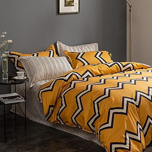 Juego de funda de edredón con funda de almohada, 200 x 200 cm, diseño de ondas amarillas con impresión 3D, funda de edredón suave y cómoda, funda de edredón de microfibra, incluye funda de almohada