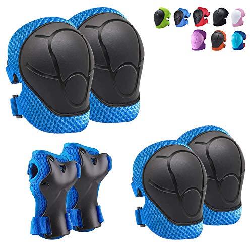 CKE Knieschoner für Kinder, Schutzausrüstung mit Kinder-Knie- und Ellenbogenschonern und Handgelenkschonern 3-in-1 für Radfahren, Skateboard, Roller, Skaten, Radfahren, verbesserte Version 3.0