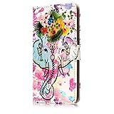 ISAKEN Compatibile con Huawei P10 Plus Cover - Libro Wallet Flip Portafoglio Custodia in PU Pelle Sollievo Pattern Anti Slip Caso con Supporto di Stand/Carte Slot/Chiusura - Elefante