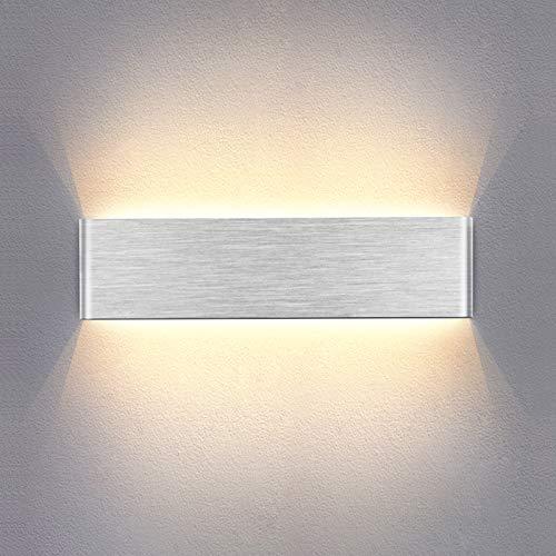 Temgin LED Wandleuchte 10W Warmweiß 30CM Moderne Wandlampe Silber für Schlafzimmer Wohnzimmer Treppenhaus Korridor Gebürstetes Aluminium