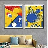 Mmpcpdd Abstrakte Aquarell Wandkunst Poster Und Drucke Geometrische Rot Blau Gelb Runde Dekoration Leinwand Malerei -40X60Cmx2 Kein Rahmen