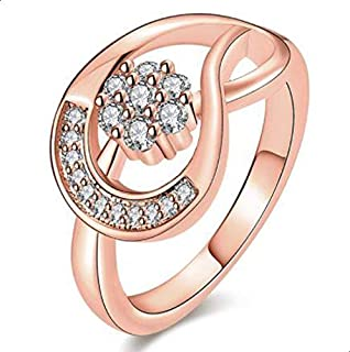 Women's Ring inlaid with white zircon size 7
