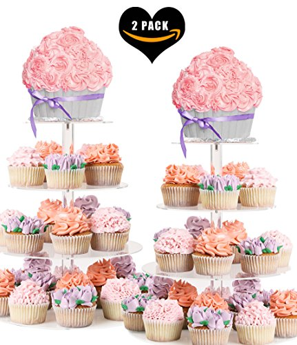 (2PACK) FOUR TIER CUPCAKE STAND ROUND - Dessert Tower | Plus Travel Tote Bag | Extra Strong 4 Tiered Clear Plastic Acrylic Serving Display Stands | Wedding Birthday Party Cup Cake Donut Tree