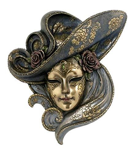 Osiris Trading UK Venezianische Frauen-Maske mit Rosen-Bronze-Effekt, Wandschild, Heimdekoration