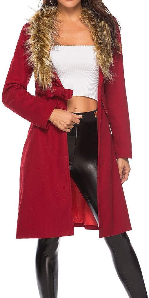 Long Overcoat for Women Cashmere Faux Fur Big Pocket Coat Outwear