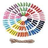 ALYNA 100 Piezas Mini Clips de Fotos de Madera Pinzas de Madera de Colores Naturales Clavija de Papel fotográfico multifunción Clips de artesanía con Guita de Yute (3.5cm)