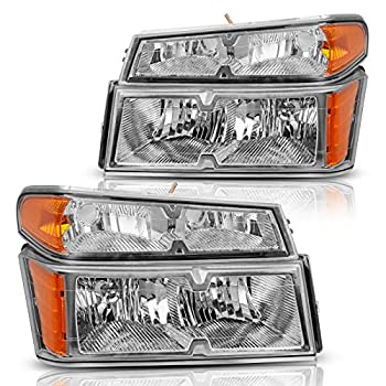 DWVO Headlight Assembly Compatible with 2004-2012 Chevy Colorado/GMC Canyon Chrome Housing Replacement Headlamps with Bumper Lights Driver and Passenger Side