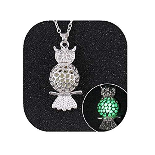 yichahu Owl Shape Glowing Pendant Necklace, POP Silver Plated Hollow Luminous Pendant Necklace