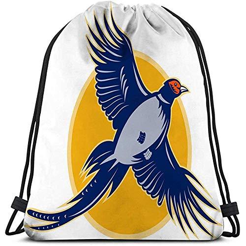 Dingjiakemao Aangepaste Trekkoord Tassen, Klassieke Trekkoord Tas Sport Opbergtas Voor Man Vrouwen Fazant Vogel Vliegende Tekening